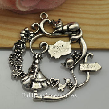 5pcs 42x43mm Antique Silver Alice in Wonderland Charms Pendant, fairy tale world Charms Connector
