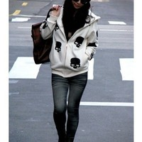 Free Size Women Skeleton Pringting White Blends Zipper Hoddie@T970w