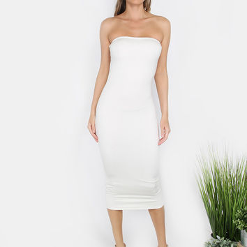 Strapless Bodycon Midi Dress WHITE | MakeMeChic.COM
