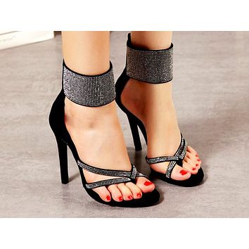 Hot Selling Women's Sandals, Fishmouth, Diamond Bright Zipper Slim High-heeled Shoes