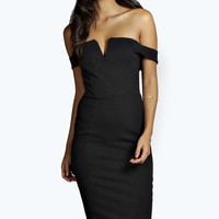 Cara Off The Shoulder Midi Bodycon Dress