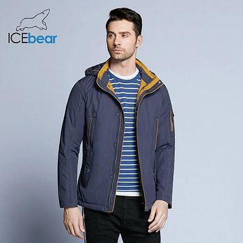 ICEbear Three Colors Large Size Polyester Thin winter jacket Men parka Spring Casual Warm Coat 17MC853D