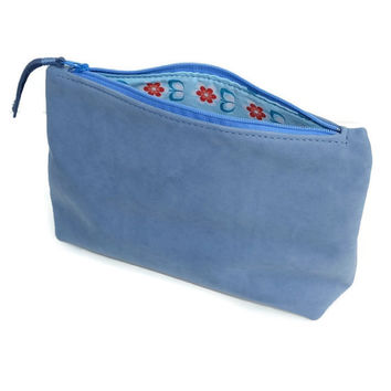 Small leather pouch - Blue small leather bag - Small leather clutch - Leather makeup bag - Leather cosmetic bag - Zipper pouch, lined