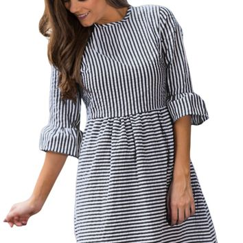 Black White Stripe Flounce Sleeve Seersucker Dress