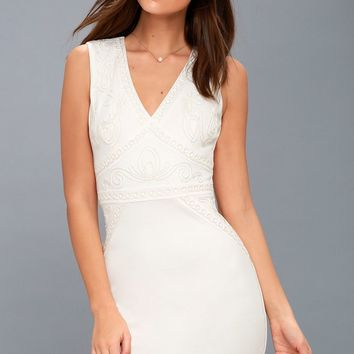 Malerie White Embroidered Bodycon Dress