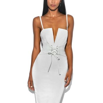 Luna White Vegan Leather Lace Up Corset Stretch Crepe Dress