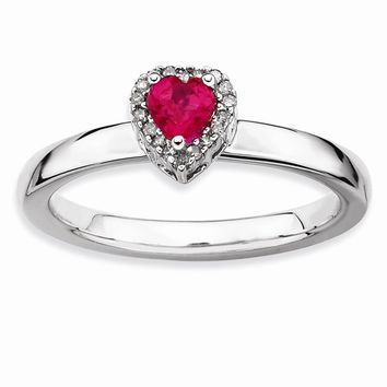 Sterling Silver Stackable Expressions Simulated Ruby Heart Diamond Ring
