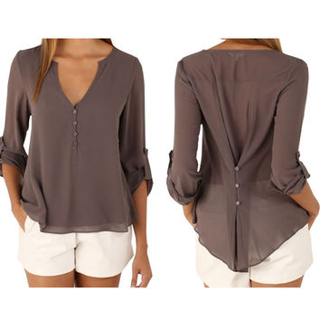 Women 2016 New Style Summer Casual Chiffon Blouses Sexy Button V Neck Long Sleeve Shirts Ladies Plus Size Tops feminina camisas