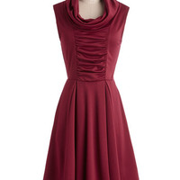 ModCloth Mid-length Sleeveless A-line Storytelling Showstopper Dress in Burgundy