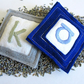 custom lavender sachets - hand embroidered, personalized, monogrammed, ecofriendly and reusable (set of 2), air freshener, wedding favor