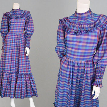Vintage 70s Maxi Dress VERA MONT Prairie Dress Blue Plaid Dress Tartan Dress Taffeta Dress Long Boho Dress Gunne Sax Style Mutton Sleeves