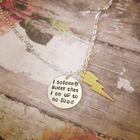 I Solemnly Swear That I Am Up To No Good Harry Potter Necklace - Custom Harry Potter Necklace - Lightning Bolt Necklace