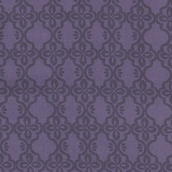 Dark Royal Purple Medallion Damask Cotton Fabric, 1 yard, From Brothers and Sisters