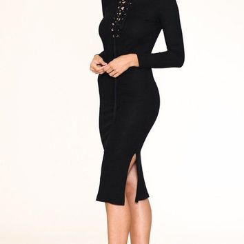 Bombshell Black Lace Up Bodycon Sweater Midi Dress