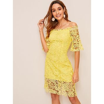 Off-shoulder Yellow Lace Dress