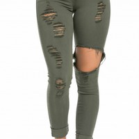 High Waisted Distressed Skinny Jeans in Olive