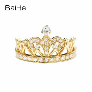 BAIHE Solid 14K Yellow Gold (AU585) H/SI About 0.30ct 100% Genuine Natural Diamonds Engagement Cute/Romantic Fashion Gift Ring