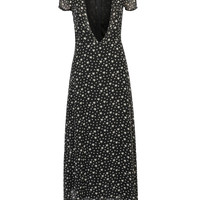 Black Plunge Neck Star Print Maxi Dress