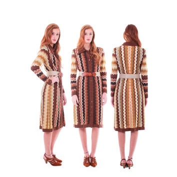 70s Vintage Oscar de la Rental Boutique Dress RARE Collectible Brown Beige Chevron Zig Zag Knit Long Sleeve Midi Retro Womens Size Medium