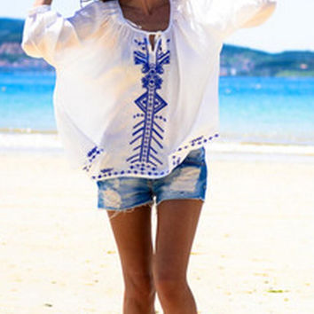 White Tribe Print Long Sleeve Blouse