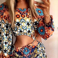 Floral Printed Cut Out Waistline Long Sleeve Romper