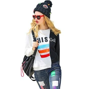2017 Women Sweatshirts Blouses Long Sleeve White Shirt Baseball Tops Ladies Sweet Crop Adventure Casual Crop hoodie Boho Shirt