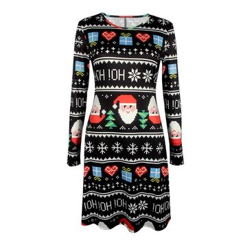 Colorful Christmas Dress Women 2017 Autumn Dress Female Long Sleeve Santa Claus Printed Casual Tunic Dress Robe Femme
