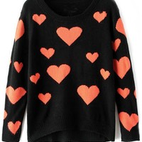Sweet Coral Heart Pattern Sweater - OASAP.com