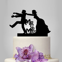 Funny wedding cake topper, monogram cake topper, Mr and Mrs cake topper, groom and bride silhouette cake topper, funny cake topper
