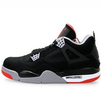 Mens Nike Air Jordan Retro 4 Basketball Shoes Black / Cement Grey / Fire Red 308497-089 Size 8.5