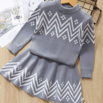 Toddler Winter Clothes Geometric Pattern Dress