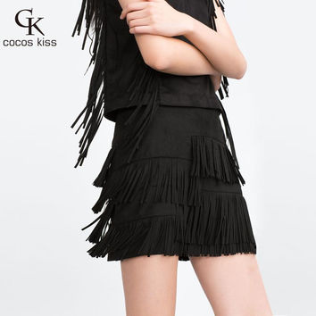 Fashion Style 2016 New Heavy Hierarchical Natural Waist Straight Leather Skirt Fringed Suede Tassel Solid Skirts Womens