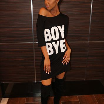 Boy Bye! Shirt Dress Black