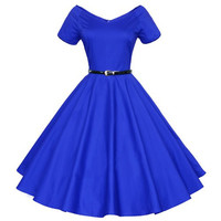 Short Sleeve V-Neck High Waist Ball Flare Dress