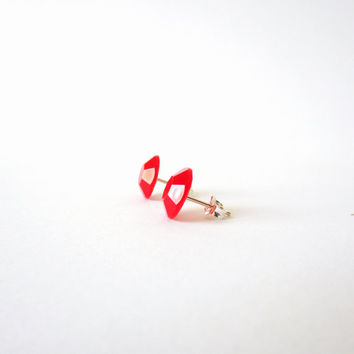 "sterling SILVER 925 STUD earrings RED ""carminio"". Tiny precious post studs"