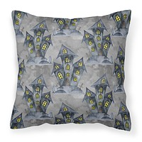 Watecolor Halloween Haunted House Fabric Decorative Pillow BB7522PW1818