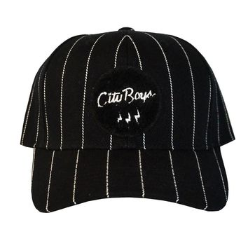 City Boys Stripped Classic Cap in black and white