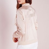Missguided - Satin Embroidered Squad Bomber Jacket Nude