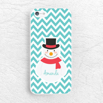 Snowman Chevron Monogram name personalized Phone Case for iPhone 6/6s, Sony z3 z4, LG G4, HTC one M8 M9, Samsung S6, Note 5, XMAS Case -C29