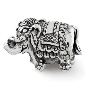 Double Sided Circus Elephant Charm in Antiqued Sterling Silver