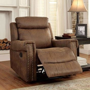 Geddes Transitional Recliner Single Chair, Brown Finish