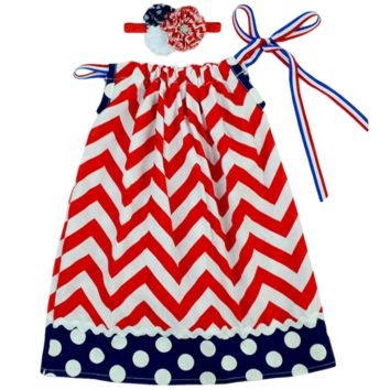 4th of July Pillowcase Red & Blue Flag Dress