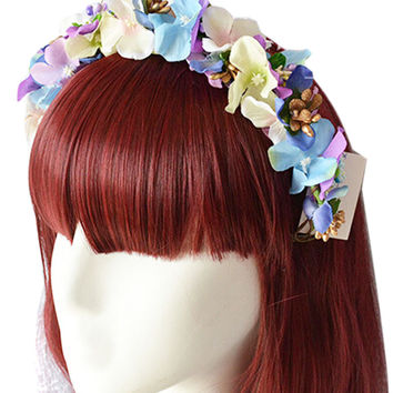 Multi-Color Beaded Lilacs Hairband