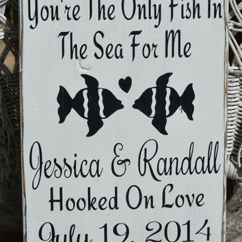 Wedding Signage - Beach Wedding Sign - Wedding Decor - Gift - Anniversary - Fish In The Sea - Personalized - Custom - Names - Rustic