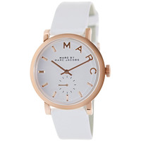 Marc by Marc Jacobs MBM1283 Women's Baker White Dial Rose Gold Steel White Leather Strap Watch