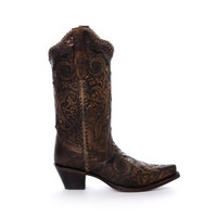 Corral Black Bronze Studs & Whip Stitch Snip Toe Boots R1217