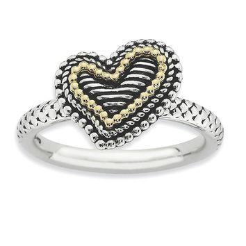 Sterling Silver & 14k Gold Stackable Expressions Antiqued Heart Ring