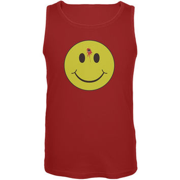 Smiley Face Bullet Hole Red Adult Tank Top
