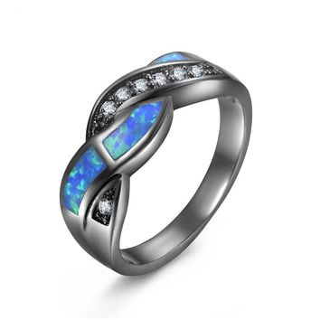Women Black Gold CZ Crystal  Blue Opal Cross  Wedding engagement Rings 5-11