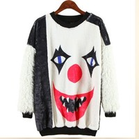 ERLKING Women's Shadow Man Fleece Tee Top Furry Sweatshirts Color Black Size Free Size